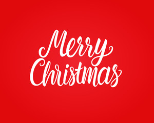 Merry Christmas white hand drawn lettering text inscription. Vector illustration isolated on red background. Holiday Greeting Design Card