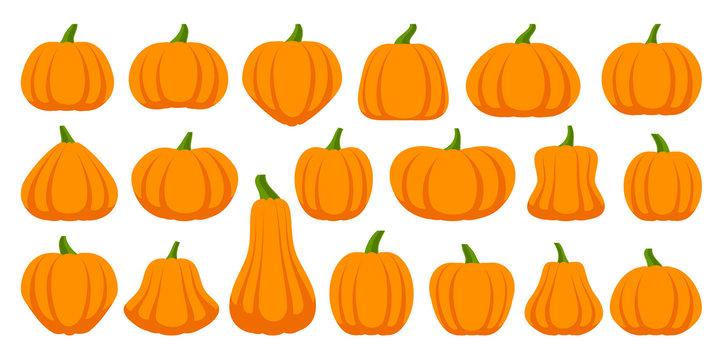 Pumpkin simple flat color icons vector set