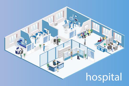 interior of hospital room, pharmacy, doctor's office, reception