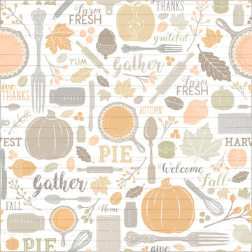 Seamless Vector Shiplap Autumn Leaves & Pumpkin Apple Pie Baking Pattern in Warm Pastel Fall Colors