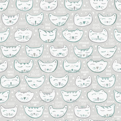 Seamless Vector Gender Neutral Baby Nursery Decor Sleepy Kitty Cat Characters in Gray & Blue Green