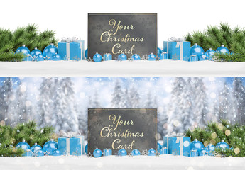 Christmas Card on Snow With Blue Ornaments Mockup