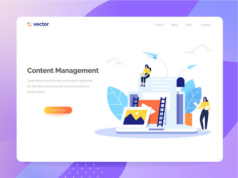 Content Management concept in flat design. Creating, marketing and sharing of digital - vector illustration.