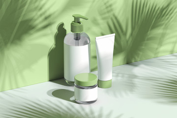 Cosmetic Bottle Set for cream, lotion. Blank plastic containers. 3d rendering.