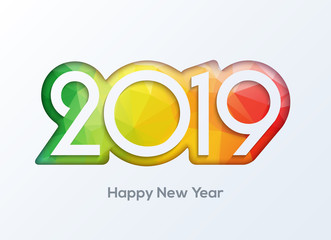 Happy new year 2019 numbers design vector. 2019 greeting card banner