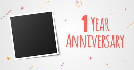 1 year anniversary photo frame card. 1 year anniversary vector elegant template design