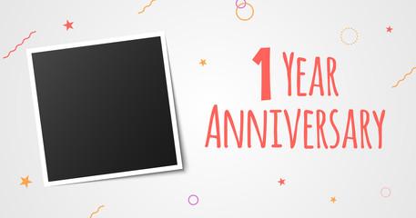 1 year anniversary photo frame card. 1 year anniversary vector elegant template design