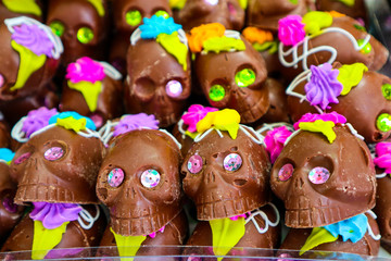 Decorated Chocolate Skulls for Day of the Dead at Market in Mexico City