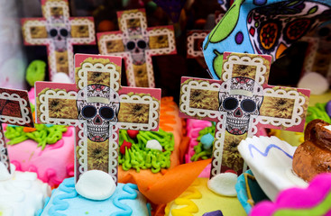 Day of the Dead Skull and Cross Decorations at Market in Mexico City