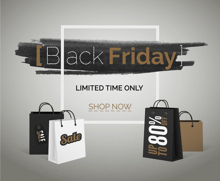 Black Friday sale vector banner for web discounts hipster advertisement.
