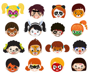Face paint kids vector children portrait with facial painted makeup and girl boy character illustration set of animalistic facepaint cat dog and pirate for halloween party isolated on white background