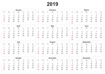 2019 calendar with white background.