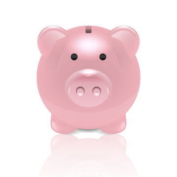 Vector Realistic 3d Pink Retro Piggy Bank Closeup Isolated on White Background. Design Template of Money Pig for Graphics, Banners. Money, Financial, Savings, New Year 2019 Concept. Front View