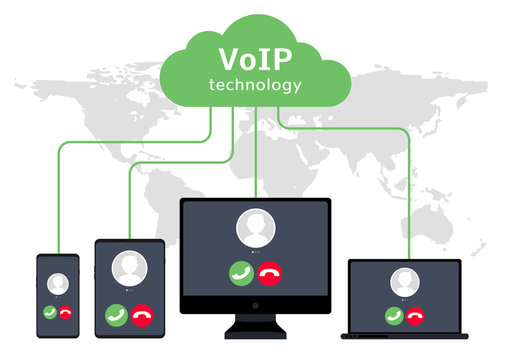 VoIP voice over IP illustration smartphone laptop network. Voip call flat concept design