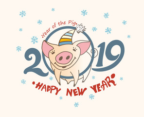Cute greeting card with a pretty pig in the circle of numbers 2019. Christmas decor blue snowflakes. Happy New Year! Vector New Year's design.