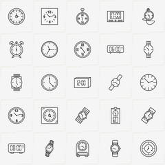 Clock line icon set with wall watch , electronic table watch  and pocket watch