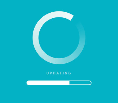 System software update or upgrade. Application loading process symbol web screen. Vector computer technology