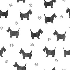 Seamless watercolor black dog pattern.