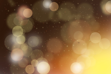 Orange and yellow abstract bokeh background Christmas and Happy new year on blurred bokeh