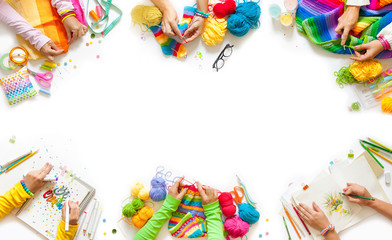 Women's hobby. Crocheting, knitting, lettering, drawing, sewing. Master class and workshop.