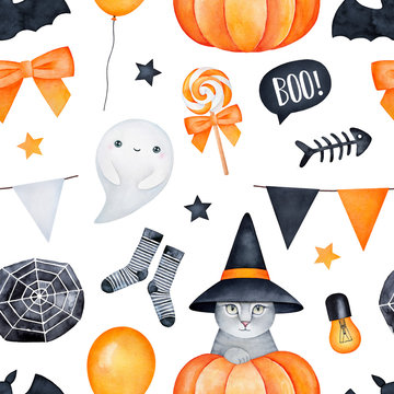 Seamless Halloween themed pattern. Orange, yellow, black colors; white backdrop. Hand drawn watercolour illustration. For textile, gift wrapping paper, product packages, scrapbook, creative projects.