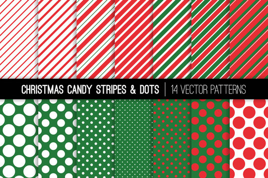 Christmas Candy Cane Stripes and Polka Dots Vector Patterns. Red Green White Xmas Theme Backgrounds. Prints for Wrapping Paper or Card-making. Repeating Pattern Tile Swatches Included.