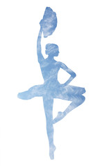 Ballerina with a fan in the image of the sky with clouds