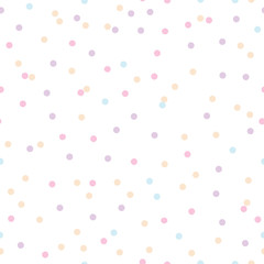 Colorful pastel confetti dots seamless pattern. Great for baby and nursery fabric, wallpaper, giftwrap, wedding invitations as well as Birthday projects.