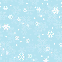 Blue Christmas snowflakes seamless pattern. Great for winter holidays wallpaper, backgrounds, invitations, packaging design projects. Surface pattern design.