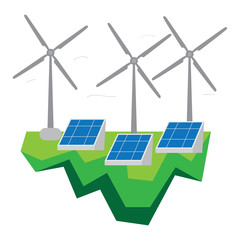 Wind turbines and solar power plants. Clean energy conceptual image. Vector illustration design