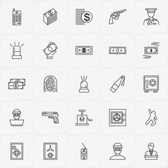 Criminal line icon set with safe, siren and money