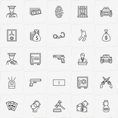 Criminal line icon set with jail , safe and gun