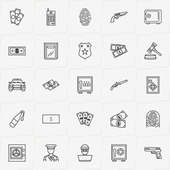 Criminal line icon set with portable radio , policeman  and police car