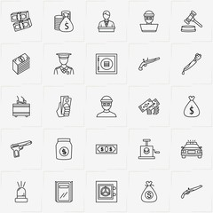 Criminal line icon set with money case, offender and money bag