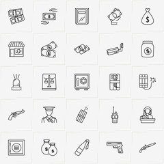 Criminal line icon set with money bag, gun  and money