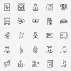 Criminal line icon set with broken window , finger print  and witness