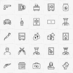 Criminal line icon set with broken window , portable radio  and gun