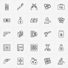 Criminal line icon set with portable radio , money case and revolver