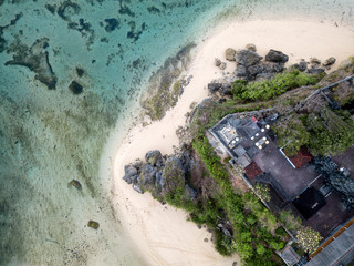 Indonesia, Bali, Aerial view of Nusa Dua beach, Temple from above