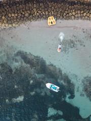 Indonesia, Bali, Aerial view of Nusa Dua beach, jet skiing