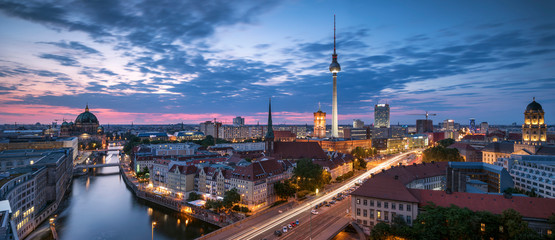 Germany, Berlin, elevated city view at morning twilight