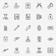 Criminal line icon set with policeman , finger print  and molotov cocktail