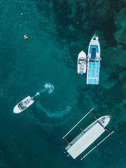 Indonesia, Bali, Aerial view of motorboats from above