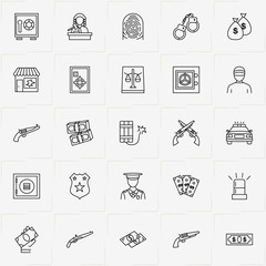 Criminal line icon set with revolver, police car  and money bag