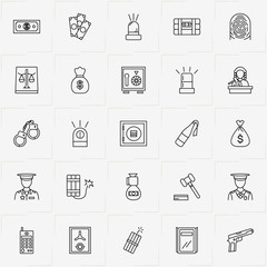 Criminal line icon set with siren, justice  and money bag