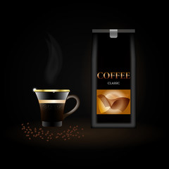coffee packaging template, coffee Cup with steam on dark background