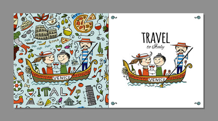 Travel to Italy. Greeting card for your design