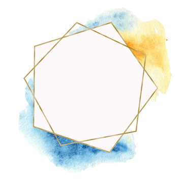 Geometric golden frame with watercolor yellow and blue spots and gems. Polygon template for wedding, invitations, cards, invitation cards, cards.