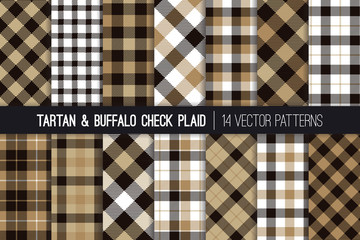 Brown, Tan, Black and White Tartan and Buffalo Check Plaid Vector Patterns. Hipster Lumberjack Flannel Shirt Fabric Textures. Men's Fashion. Father's Day Background. Pattern Tile Swatches Included.