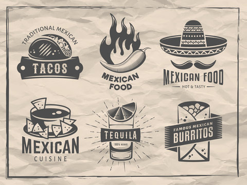 Mexican food logos. Vector badges with traditional mexican cuisine. Emblems for tacos, burritos, nachos, tequila. Set of labels for cafe, restaurant or taqueria on vintage craft paper background